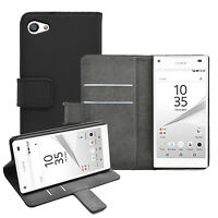 Wallet BLACK Leather Flip Case Cover Pouch For Sony Xperia Z5 Compact experia