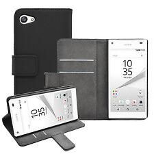 Billetera De Cuero Negro Flip Funda Protectora Bolsa Para Sony Xperia Z5 Compacto Experia