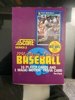1991 SCORE BASEBALL SERIES 2 WAX BOX (MINT) POSSIBLE MANTLE AUTO & 89 ROOKIES