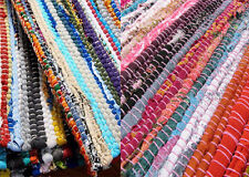 Small Chindi Rag Rugs Multi Color Recycled Handmade Loomed Woven Mats 60 X 90 Cm