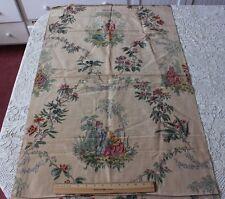 Vintage French c1920 Lyon Printed Moiré Chinoiserie Fabric Textile