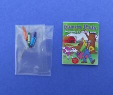 Miniature Dollhouse Coloring Book with 3 Crayons 1:12 Scale New