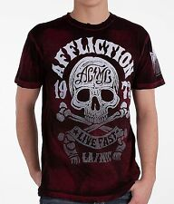 Mens Affliction American Customs Skull Club T shirt L Black Red Brush NWT A5895B