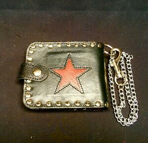 Star Genuine Leather Bi-Fold Wallet Key Belt Chain Biker Che Guevara