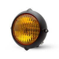 "5.5"" Headlight for Harley Davidson Retro Custom Project Matt Black & Yellow Lens"