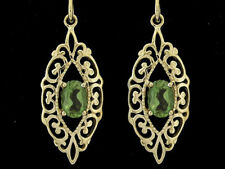 E087 - Ornate Genuine 9ct  Yellow Gold NATURAL Peridot Filigree Drop Earrings