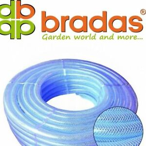 10mm ID 12mm Clear Braided Flexible PVC Hose Pipe - Water Oil Reinforced Tubing