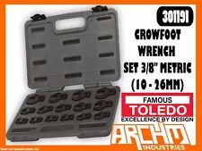 "TOLEDO 301191 - CROWFOOT WRENCH SET 3/8"" - METRIC (10 - 26MM) 15 PC STRAIGHT JAW"