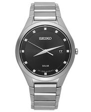 Seiko SNE249 Solar Diamond Accent Stainless Steel Black Dial 39mm Mens Watch