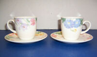 Mikasa Optima (Y4003) Spring Legacy 2 Cups & 2 Saucers Pastel Flowers Beautiful