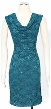 Connected Spruce Green Cocktail Dress Size 4P Nylon Draped Women's New*