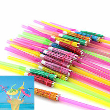 20Pcs Candy Colors Cocktail Umbrella Drinking Straw Hawaiian Beach Party Decor