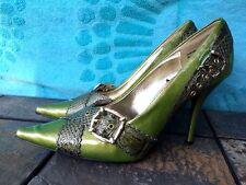 DOLLHOUSE Stilettos High Heels SnakeSkin Buckle TALK of TOWN Womens Shoes Sz 7.5