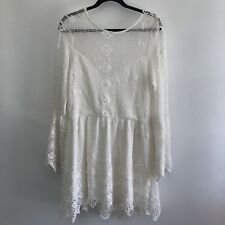 NWT Jen's Pirate Booty Everlasting White Backless Crochet Lace Dress M $330