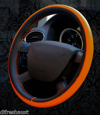 Honda Jazz Leather Steering Wheel Cover Brown Orange Blue & White