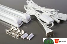 2x 4ft garage basement LED integrated clear tube light 20w with 6ft Power cable