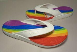 Crocs Size 8 CLASSIC II RAINBOW STRIPE FLIP Sandals New Men's Shoes