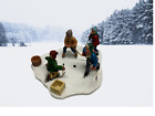 """LEMAX MEMORY MAKERS """"PASSING THE PUCK"""" FIGURINE 1997"""