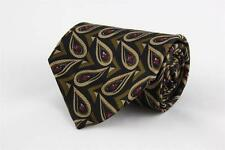 IKE BEHAR Silk Tie. Black w Brown & Maroon Rain Drops