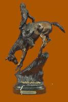 """Bronze Statue 11""""H Remington Bronze cowboy w/Horse Sculpture """"MOUNTAIN MAN SALE"""