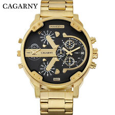 CAGARNY Brand Luxury Men Gold Watch Big Face Dial Steel Strap Male Wristwatches