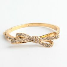 Kate Spade Tied Up Gold Bow Pave Hinge Bangle Bracelet New 1103-12