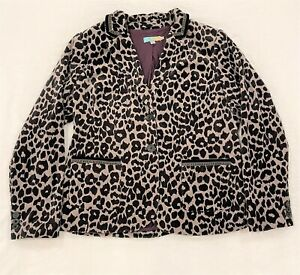 Boden Womens Velvet Blazer Jacket Black Grey Animal Leopard Print US Size 16 EUC