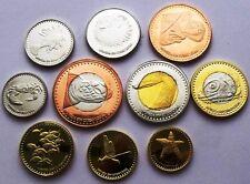 SAN ANDRES PROVIDENCIA SANTA CATALINA 10 COINS SET 2015 ANIMALS 3 X BIMETALLIC