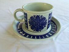 Stonehenge Midwinter BLUE DAHLIA Cup & Saucer  Wedgewood Made in England