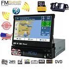 "7"" Single 1 DIN Car CD DVD Player GPS Nav Bluetooth HD Touch Stereo Radio+Camera"