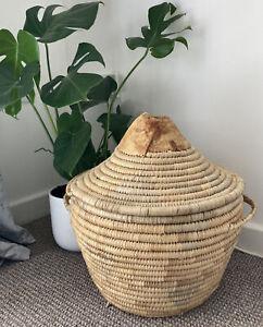 Vintage African Rice Basket Lidded Leather top and base Large Boho