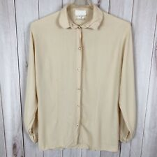 Ghost by Andrea Sargeant Beige Button Up Collared Blouse Made in England Medium