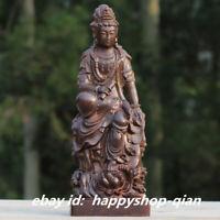 """9.4"""" Chinese Wood Hand-carved Buddhism Kwan-yin Goddess Guan Yin Buddha Statue"""