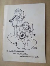 Old Postcard Unposted Writing on Back Vienna Austria Angels Clouds Musicians