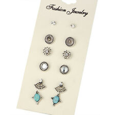 6 Pairs Vintage Women Silver Color Crystal Boho Earrings Sets Ear Stud Jewelry