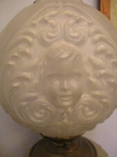 Antique Gone with the Wind Satin Glass Cherub Face Electrified Parlor Oil Lamp!