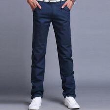Mens Slim Fit Straight Leg Jeans Trousers Casual Pencil Business Groomsman Pants
