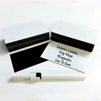 100 x Magnetic Dry Wipe Labels Whiteboard - Many Sizes - Shelving Racking