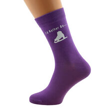 I'd Rather Be Ice Skating with Skating Boot Image Printed on Ladies Purple Socks