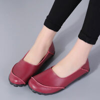 Women's Genuine Leather Flat Shoes Causal Plus Size Cowhide Moccasins Shoes