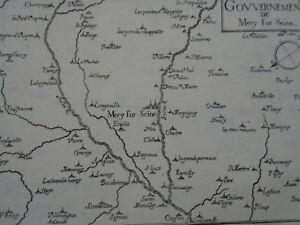 1634 Gravure carte XVIIe - CHAMPAGNE -GOUVERNEMENT DE  MERY SUR SEINE- TASSIN