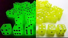 """WHOLESALE LOT 50 GLOW IN THE DARK YELLOW DICE 6 SIDED D6 DIE GAME SIX 5/8"""" 16mm"""
