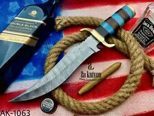2As KNIVES HANDMADE DAMASCUS STEEL BOWIE KNIFE WITH LEATHER SHEATH