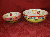 """Tabletops Gallery Salad 101 Hand Painted 11"""" SERVING + (4) 8.5"""" Bowls..NEW!"""