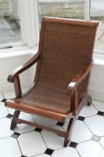 Mahogany and Rattan Lazy Chair For The Conservatory or Home