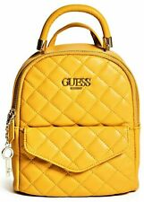 NWT GUESS CATALINA 2-Way BACKPACK BAG & SHOULDER HANDBAG Mustard Logo GENUINE