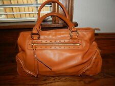 Large Cognac Brown Studded Leather MICHAEL KORS Whipstich Shoulder Bag!
