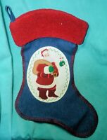 """Appliqued & Embroidered denim Christmas stocking with Santa Claus 19"""" wide top"""
