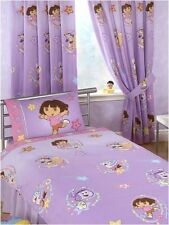"""Dora The Explorer Swirl 100% Cotton Curtains 66"""" x 54"""" With Tie Backs - Lilac"""
