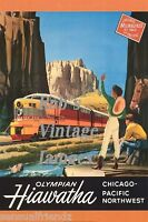 Milwaukee Road Hiawatha Olympian Poster  CMSP Railroad Ad print photo Chicago